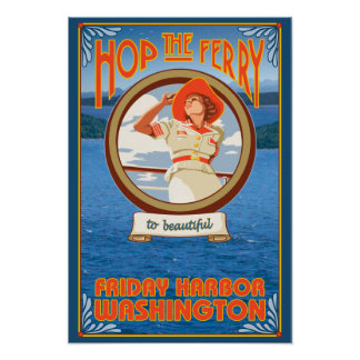 Woman Riding Ferry - Friday Harbor, Washington Poster