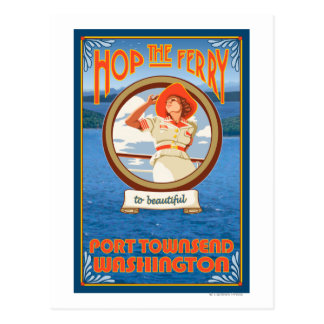 Woman Riding Ferry - Port Townsend Washington Postcard