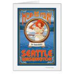 Woman Riding Ferry - Seattle, Washington Cards