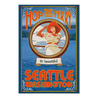 Woman Riding Ferry - Seattle, Washington Poster