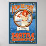 Woman Riding Ferry - Seattle, Washington Print