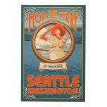 Woman Riding Ferry - Seattle, Washington Wood Wall Art