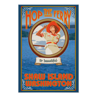 Woman Riding Ferry - Shaw Island, Washington Poster