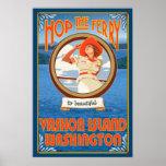 Woman Riding Ferry - Vashon Island, Washington Posters