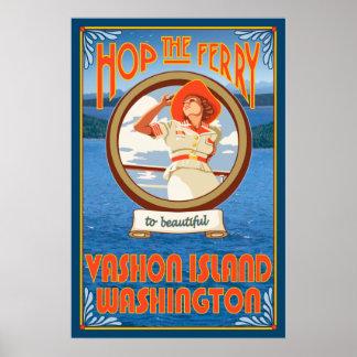 Woman Riding Ferry - Vashon Island, Washington Poster