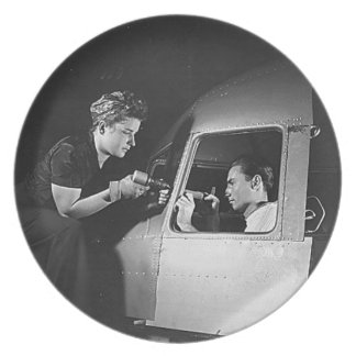 Woman Riveting on Aircraft Dinner Plates