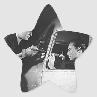 Woman Riveting on Aircraft Star Sticker