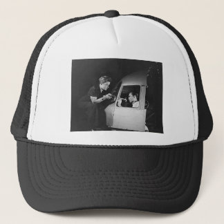 Woman Riveting on Aircraft Trucker Hat