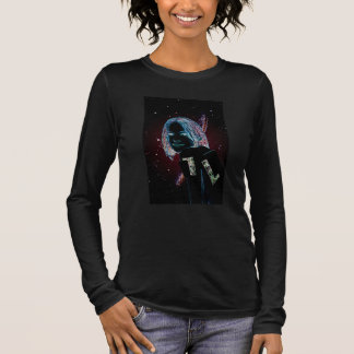 Woman robot android in star galaxy long sleeve T-Shirt