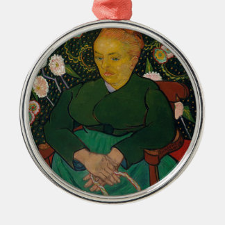 Woman Rocking a Cradle Metal Ornament