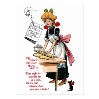 Woman Rolling Biscuit Dough Postcard