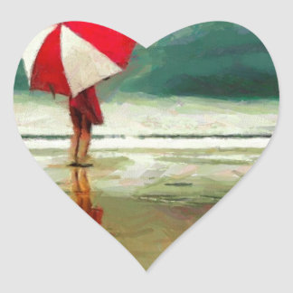 woman romance sand sea umbrella heart sticker