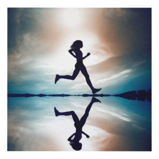 woman running panel wall art
