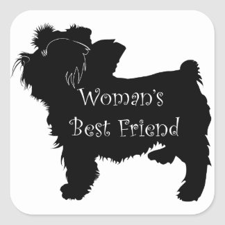 Woman's Best Friend dog silhouette of toy terrier Square Stickers