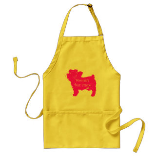 Woman's Best Friend silhouette of pink toy terrier Adult Apron