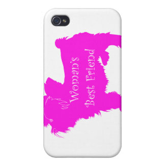 Woman's Best Friend silhouette of pink toy terrier Covers For iPhone 4