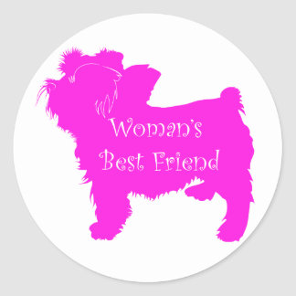 Woman's Best Friend silhouette of pink toy terrier Sticker