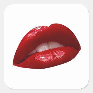 Woman s Luscious Red Lipstick Lips Square Sticker