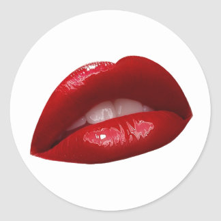 Woman s Luscious Red Lipstick Lips Round Stickers