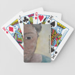 woman sadness playing cards