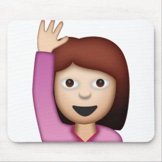 Woman Saying Hello - Emoji Mouse Pad