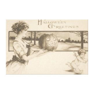 Woman Scaring Cupid Jack O' Lantern Pumpkin Canvas Print