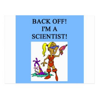 woman scientist postcard