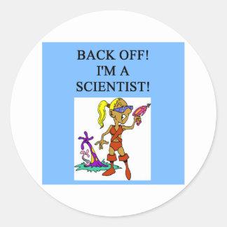 woman scientist round stickers