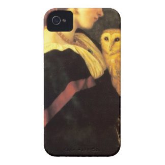 Woman Screech Owl antique painting Case-Mate iPhone 4 Case