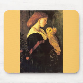 Woman Screech Owl antique painting Mouse Pad