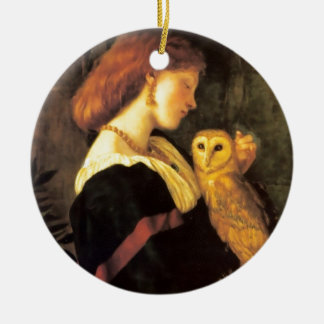 Woman Screech Owl antique painting Ornaments