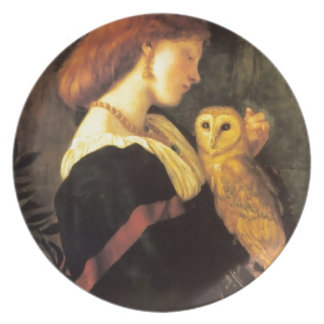Woman Screech Owl antique painting Plate