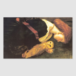 Woman Screech Owl antique painting Rectangle Stickers