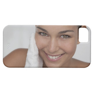 Woman scrubbing her face with cloth iPhone SE/5/5s case