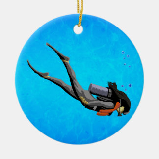 Woman SCUBA Diving Ceramic Ornament