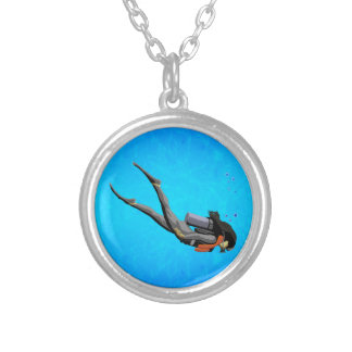Woman SCUBA Diving Silver Plated Necklace