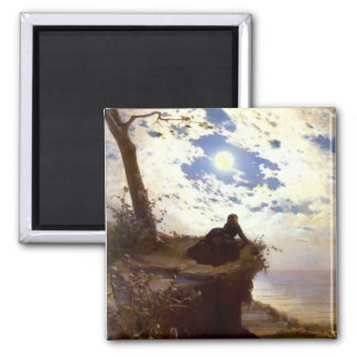Woman sea cliff moonlight antique painting 2 inch square magnet
