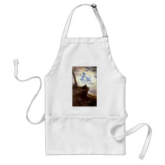 Woman sea cliff moonlight antique painting apron
