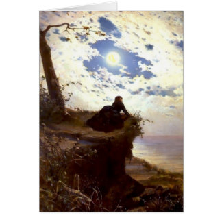 Woman sea cliff moonlight antique painting card