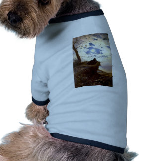 Woman sea cliff moonlight antique painting doggie tshirt