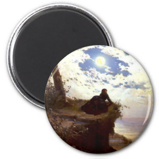 Woman sea cliff moonlight antique painting magnet