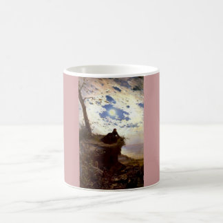 Woman sea cliff moonlight antique painting coffee mugs