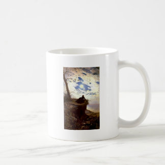 Woman sea cliff moonlight antique painting mugs