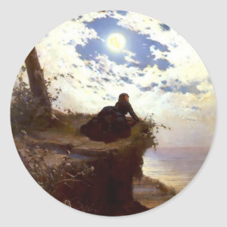 Woman sea cliff moonlight antique painting round sticker