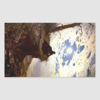 Woman sea cliff moonlight antique painting rectangular sticker