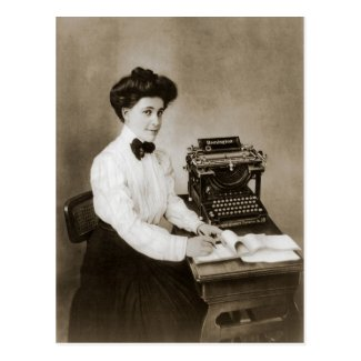 Woman seated at a desk with a vintage typewriter postcards