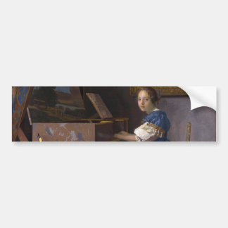 Woman Seated at a Virginal by Vermeer Bumper Sticker