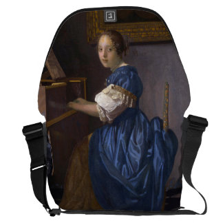 Woman Seated at a Virginal by Vermeer Courier Bag