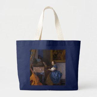 Woman Seated at a Virginal by Vermeer Large Tote Bag
