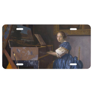Woman Seated at a Virginal by Vermeer License Plate